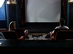 Threesome with busty blonde in cinema