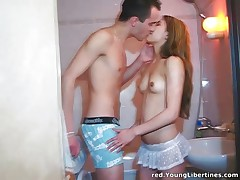 Young cutie banging in a bathroom