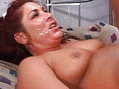 Buxom MILF and a lot of horny dicks