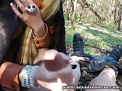 Hot outdoor fuck in the woods