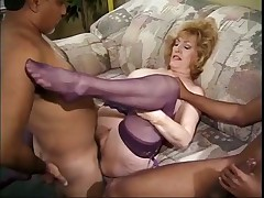 Older Lady Taking Turns in Threesome