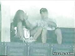 Girl rubs her pussy in public