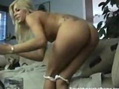 Sexy hot blonde goes ass to mouth at home