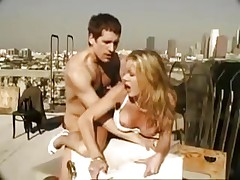 Amber fucked and facialized on the roof
