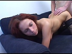 Amateur Redhead in Stockings Gets a Creampie