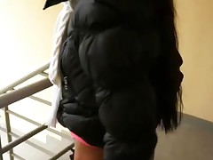 Brunette Amateur Chick Shows Off Her Ass Sucks Dick And Gets Banged On The Stairways Of A Hotel