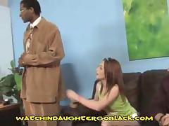 Teen Babe Sucks Black Cock In Front Of Dad
