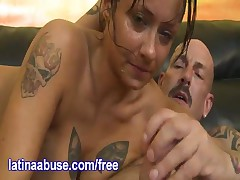 Paige - Paige Goes Deep On A Big White Dick And Her Lunch Comes Up All Over His Lap