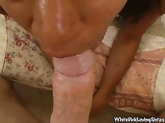 Candy - Ebony Babe Sucking A White Dick