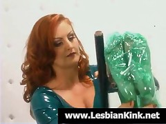 Lesbian Slave Gets Wrapped In Plastic Foil By Mistress
