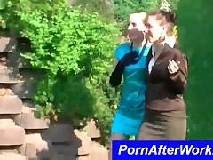 Ponytailed Elegant Pornstars Have Fun Outdoors