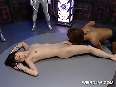 Delicate Chained Asian Slave Gets Body Licked
