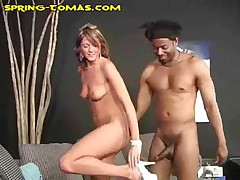 Spring Thomas - Black Guy On Couch Gets Handjob From Spring