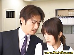 Ponytailed Japanese Bitch Gets Fucked In Office
