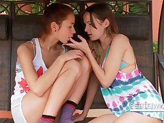 Teen Superb Lesbians Making Out On A Swing