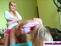 Blonde Teen Lesbians Dildoing Their Sweet Twats