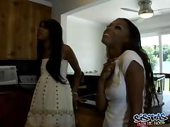 Tina And Kapri - Two Horny Ebony Lesbian Dildo Fucking In The Couch