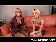 Pigtailed Blonde Daughter Strips On Camera For Mom