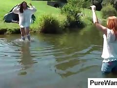 Sweet Girls Gets Wet In The Lake In Wam Scene