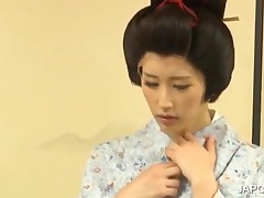 Lovely Japanese Geisha Punished By Two Dudes