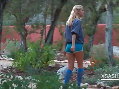 Lovely Blonde Sasha Rubbing Pussy Outdoors