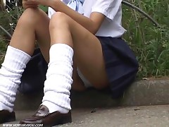 Enjoy This Zooming Movie Filmed Between The Crotches Of Uniform Girls Making Text Messaging In The O