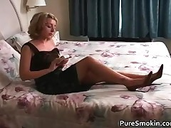 Aroused Blonde Hot Babe Smoking A Sigarette 1 By Puresmokin