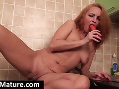 Seductive Redhead Milf Fuck Dildo In Kitchen