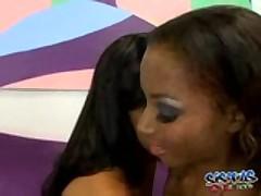 Ebony Ladies Take Turns With Dildo