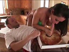 Pizza Delivery Boy Gets Deepthroated By Dirty Milf