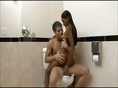 Interracial hook up in the bathroom