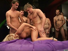 Sharka Blue - Sharka Blue Gets Fucked Doggy Style In A 50 Man Orgy