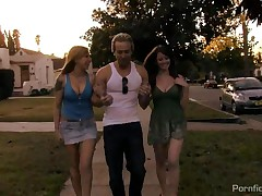 Scarlett Pain And Nikki Rhodes - While Ryan Was Watering The Lawn, He Had No Idea That The Two Girls