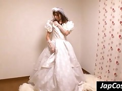 Stockinged Japanese Bride Riding A Hard Dick