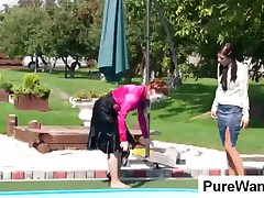 Sweet Lesbian Slave And Mistress Gets Wild In Pool