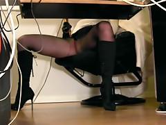 Under Desk View Of A Secretary Masturbating In Pantyhose