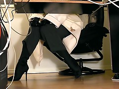 Under Desk View Of A Secretary Masturbating In Pantyhose