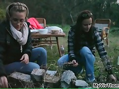 Two Brunette Hotties Enjoying A Hot Campfire Outdoors By MyVivThomas