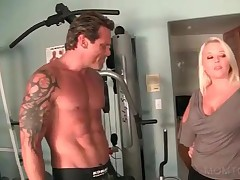 Tempting Cougar Flirting With Sexy Gym Trainer