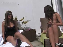 Two Topless Tanning Brunette Babes Love Having Lesbian Sex Outdoor By XNPass