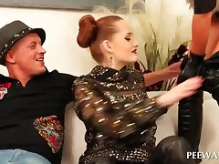 Sesnsual Redhead Pissing On Excited Hot Couple