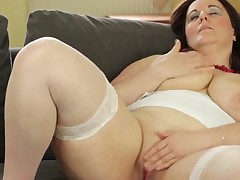 Excited Chubby Mature Dildoing Hairy Pussy