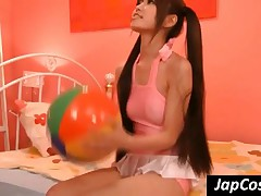 Pig-tailed Japanese Nympho Play With A Pink Dildo