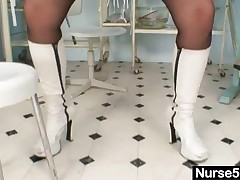 Filthy Amateur Mom Over 40 Wears Nurse Uniform, Sexy Stockings And Performs Wicked Dildo Action