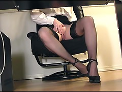 Secretary Masturbating In Stockings Under Desk Hidden Voyeur View