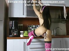 Aiza - Aiza Pump Her Prolapse Out During Clearing Kitchen, The She Fist Her Ass