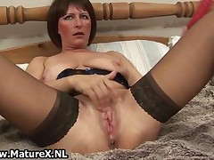 Dirty Old Mom In Sexy Lingerie Fucking Her Favorite Big Dildo By MatureX