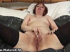 Horny Mature Mother In Sexy Black Stocknigs Toying Her Wet Pussy By MatureX