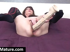 Horny Mom Sucking And Fucking A Gigantic Dildo