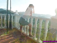Tempting Teen Girl Strips Panty And Fingers Asshole Outdoors